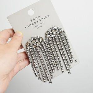 ZARA Clear Diamante Long Tassel Drop Earring